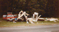 Crash damaged touring caravan