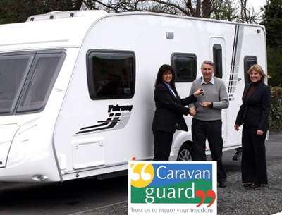 Mr Moore picks up the keys for his new caravan