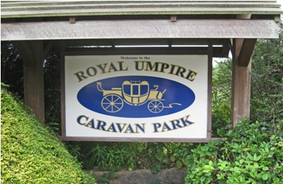 Royal Umpire Caravan Park sign