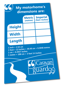 motorhome dimensions sticker