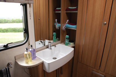 Caravan bathroom and basin