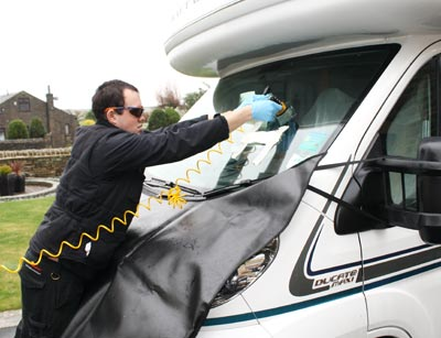 injecting resin motrohome windscreen