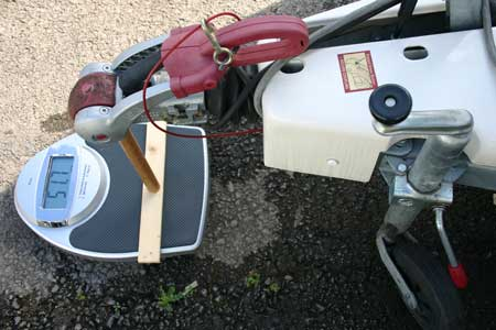 Bathroom scales can be used to measure a caravan's noseweight