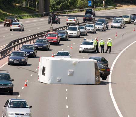 motorway caravan accident