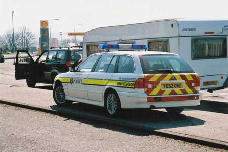 pulled over caravan in service station