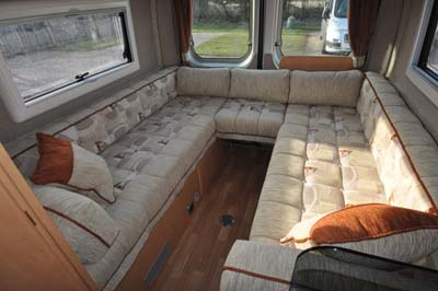 Devon Aztec motorhome has a well sized U-shaped lounge