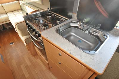 Devon Aztec motorhome kitchen and sink