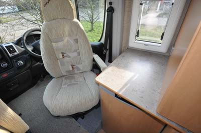 Driver's cab inside the Devon Aztec motorhome