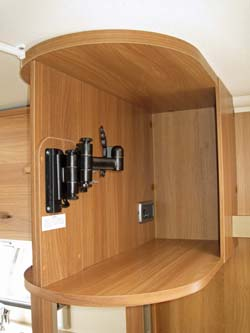 Swift Sprite Alpine 4 berth caravan swing mounting for TV