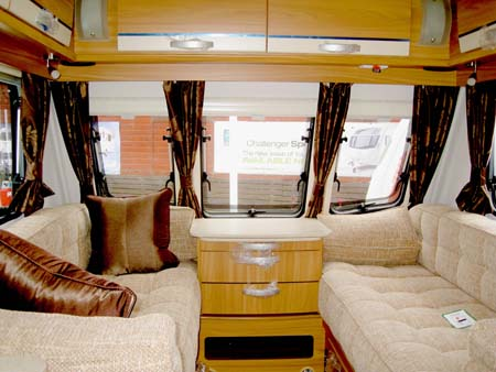 Lunar Ariva two-berth caravan seating area