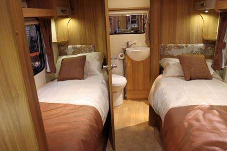 Twin beds in Bailey Pursuit Caravan 550-4