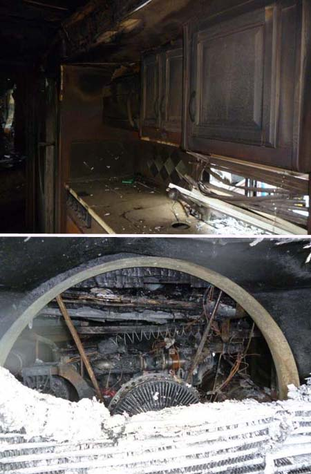 Severe damage caused by motorhome fire