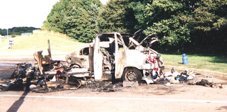 Motorhome fire damage at its worst