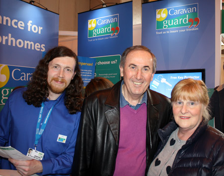 Competition winner Robert Greaves (centre) with Caravan Guard Adviser Paul