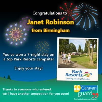 Park Resorts competition winner September 2015
