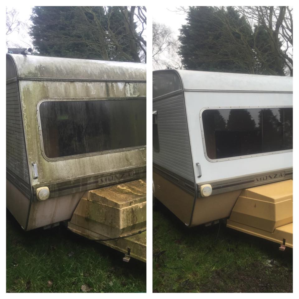 Dirty and clean caravan