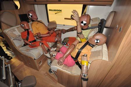 Crash test motorhome seatbelts