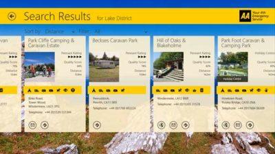AA caravan and camping app