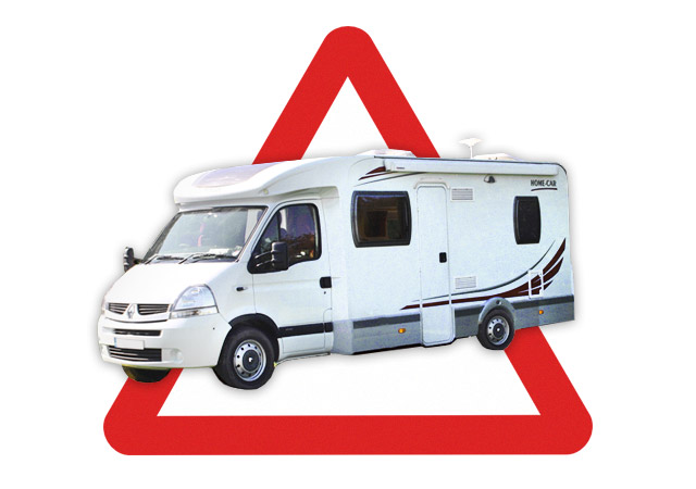 motorhome and red warning triangle