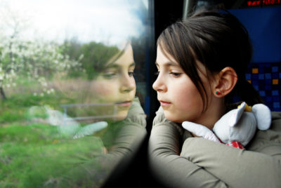 Girl travelling in car