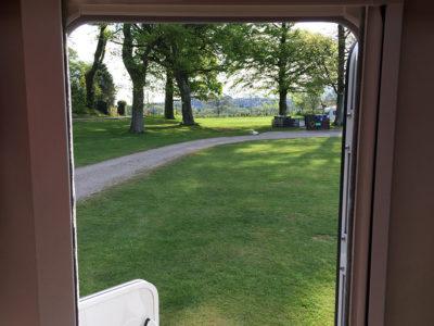 motorhome door looking outward