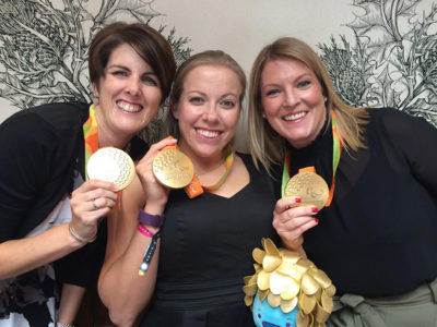 Hannah Cockroft, Liz and Louise with Rio Paralympic gold medals