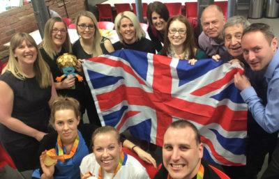 Caravan Guard team selfie with Paralympian Hannah Cockroft