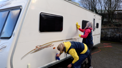 Caravan cleaning - waxing