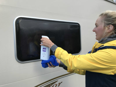 Cleaning caravan windows