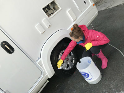 Motorhome cleaning - wheels and tyres